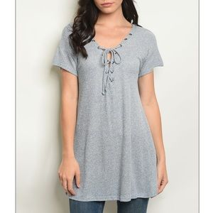 Blue gray short sleeve lace up jersey tunic top.